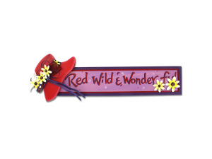 "Wholesale: Red Hat wooden ""Red, Wild & Wonderful"" sign"