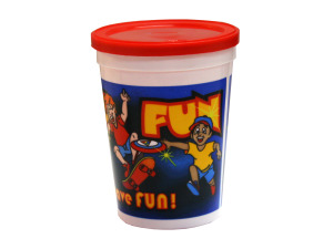 """Wholesale: 12 oz """"Kids Just Gotta Have Fun"""" plastic cup with lid"""