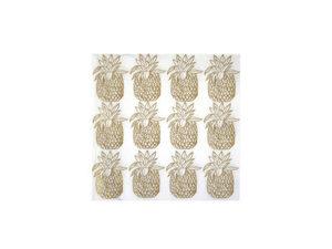 Wholesale: Metallic Gold Pineapple Napkin 20 Pk