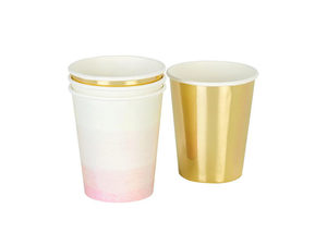 Wholesale: Pink and Gold Paper Cups 12 Pk