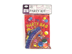 Wholesale: Party kit with hats, blowers and loot bags, set of 12