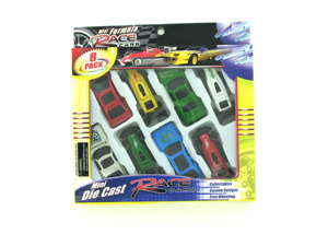 Wholesale: Mini die cast race cars, set of 8