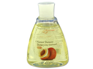 Travel size peach scented shampoo