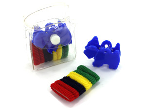 Wholesale: Hair accessory kit in plastic pouch, ties and claw