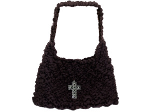 Handmade Brown Knit Bag with Cross Closure