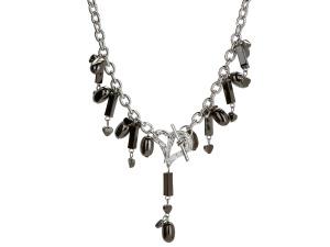 Michele Caruso Black Metallic Bead and Heart Necklace