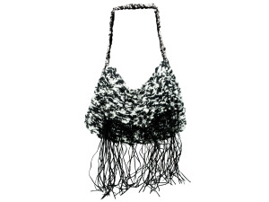 Handmade Knit Bag with Suede Fringe