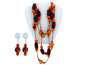 Faceted Bead Necklace & Dangle Earrings Set