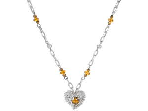 Silver Heart Necklace With Glass Beads