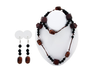 Brown & Black Beaded Necklace & Earrings Set