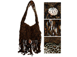Brown Hand Knit Over-the-Shoulder Bag