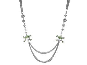 Bright Green Crystal Skull and Crossbones Multi Strand Necklace