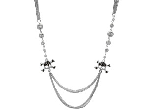 Crystal Skull and Crossbones Multi Strand Necklace