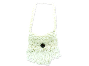 Cream Colored Hand Knit Shoulder Bag