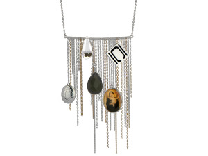 Authentic Nikki Chu Silver Tone Opera Length Tassle Necklace