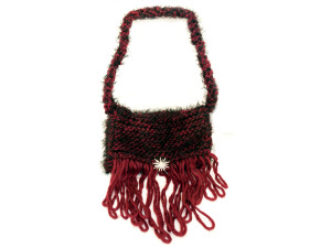 Hand Knit Burgundy Bag with Sunburst Brooch