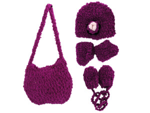 Wholesale: Hand Knit Magenta Purse with Beanie, Booties and Mittens
