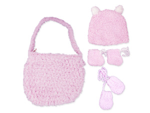 Wholesale: Hand Knit Bag with Booties, Beanie and Mittens