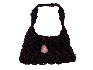 Handmade Brown Bag with Glass Stone Closure