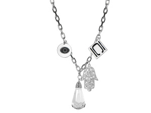 Authentic Nikki Chu Silver Cable Link Necklace With Charms