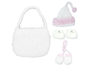 Wholesale: White Hand Knit Bag with Beanie, Hat, Mittens