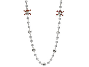 Faux Pearl and Rhinestone Skull And Crossbone Necklace