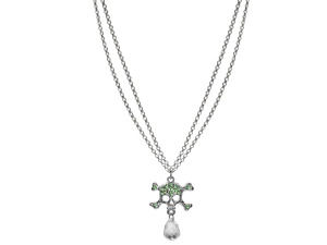Double Strand Rhinestone Skull & Crossbones Necklace