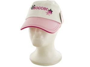 Girls Pink & White Soccer Cotton Cap