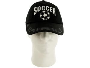 Boys Black & White Soccer Cotton Cap