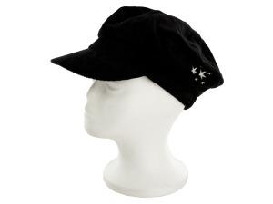Black Cotton Corduroy Paperboy Cap