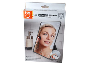 Gray LED Cosmetic Mirror With Easel Back