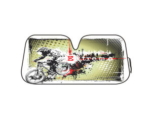 Extreme Biker Reversible Auto Shade with Silver Backing