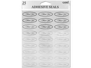 Wholesale: Silver thank you seals with clear adhesive back