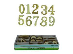 Wholesale: Wood numbers, 72 piece display