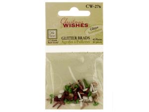 Wholesale: Christmas Wishes Mini Glitter Brads