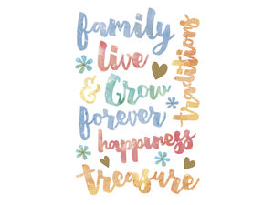 Wholesale: Momenta 15 Piece Watercolor Stickers with Family Phrases