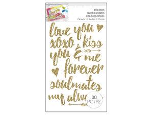 Wholesale: Momenta 30 Piece Romantic Glitter Gold Stickers