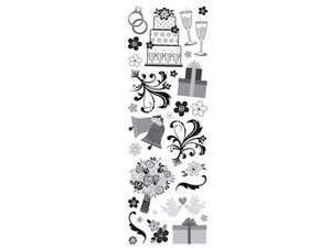 Wholesale: Momenta Silver Glitter Stickers with 29 Wedding Images