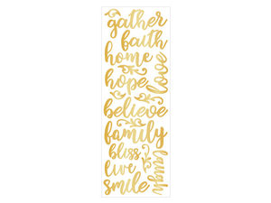 Wholesale: Momenta Puffy Gold Stickers with 17 Fath-Based Phrases