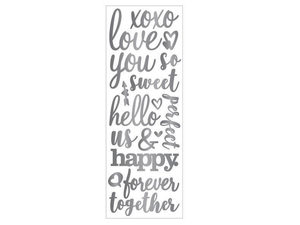 Wholesale: Momenta Puffy Silver Stickers with 17 Romantic Phrases