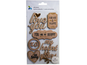 Wholesale: Momenta 6 piece wooden stickers with romantic phrases