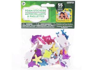 Wholesale: 55 Pack Glitter Sea Life Foam Sticker