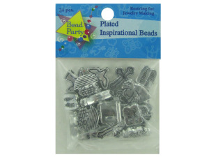 Wholesale: Plated inspirational beads, pack of 24