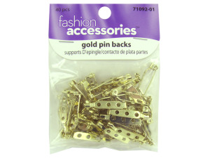 Wholesale: Gold pin backs, pack of 40