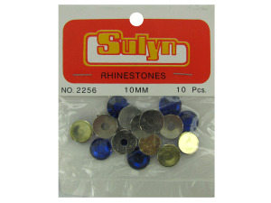 Wholesale: Sapphire colored rhinestones with mounts, pack of 10