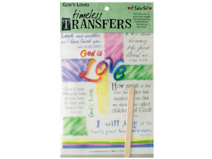 Wholesale: God loves words/images rub on transfer sheet