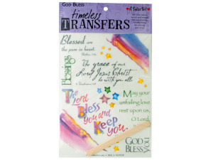 Wholesale: God bless words/images rub on transfer sheet