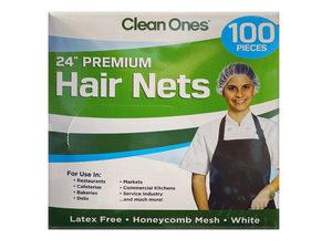 """Wholesale: Clean Ones 100 Count Premium 24"""" Disposable Hair Nets"""
