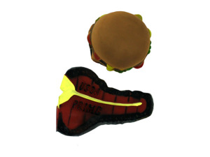 Hamburger and steak dog squeeze toy