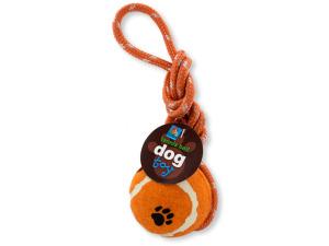 Dog Tennis Ball with Nylon Cord Toy
